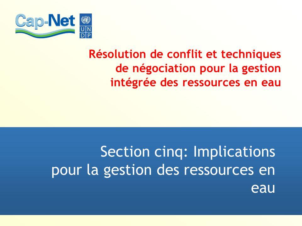 Section cinq: Implications pour la gestion des ressources en eau