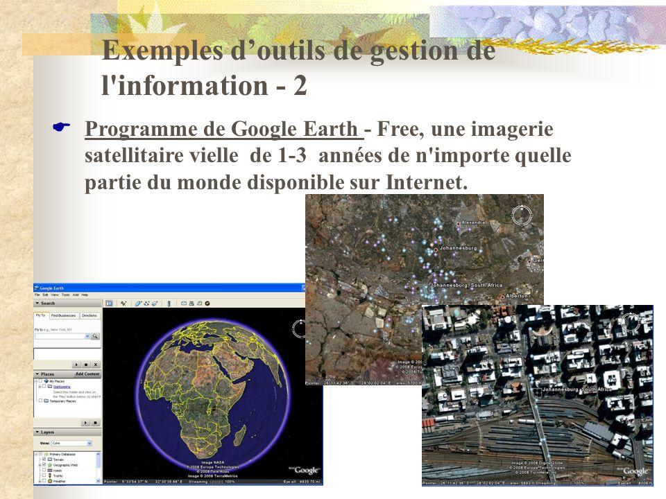 Exemples d'outils de gestion de l information - 2