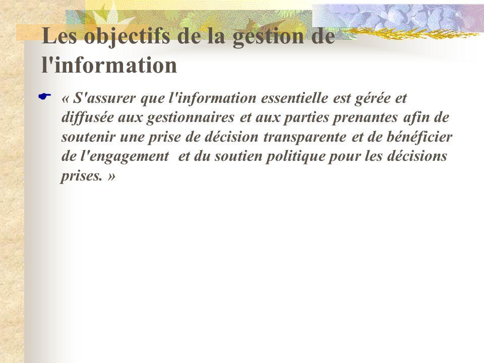 Les objectifs de la gestion de l information