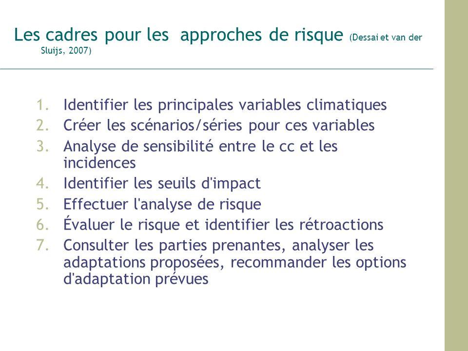 Les cadres pour les approches de risque (Dessai et van der Sluijs, 2007)