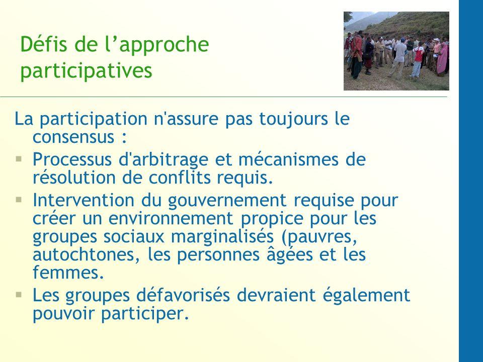 Défis de l'approche participatives