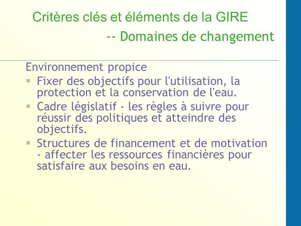 Critères clés et éléments de la GIRE -- Domaines de changement