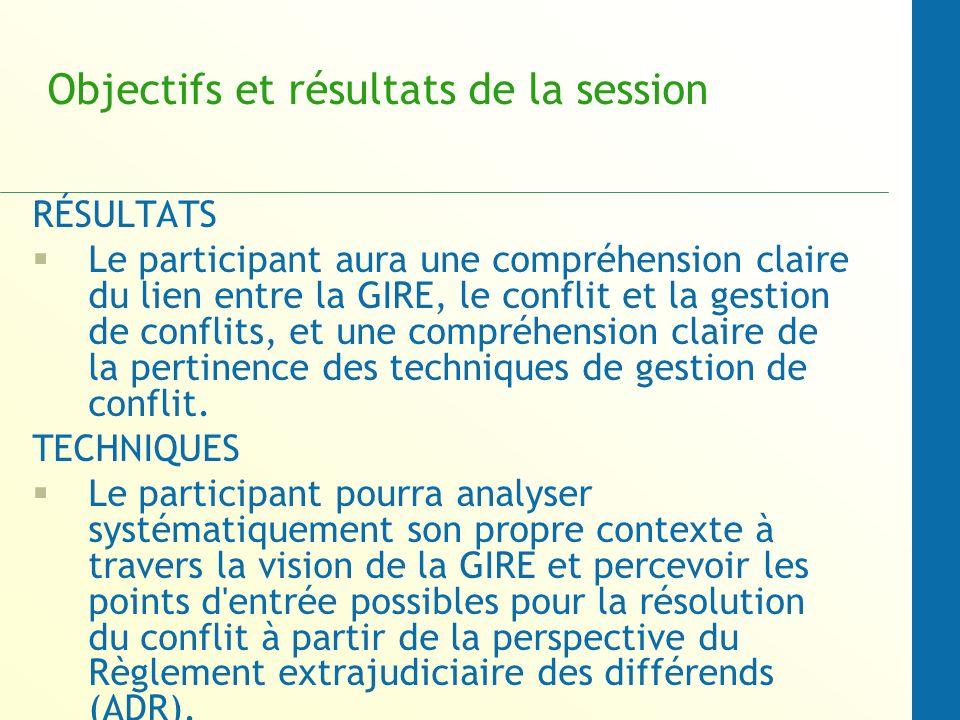 Objectifs et résultats de la session