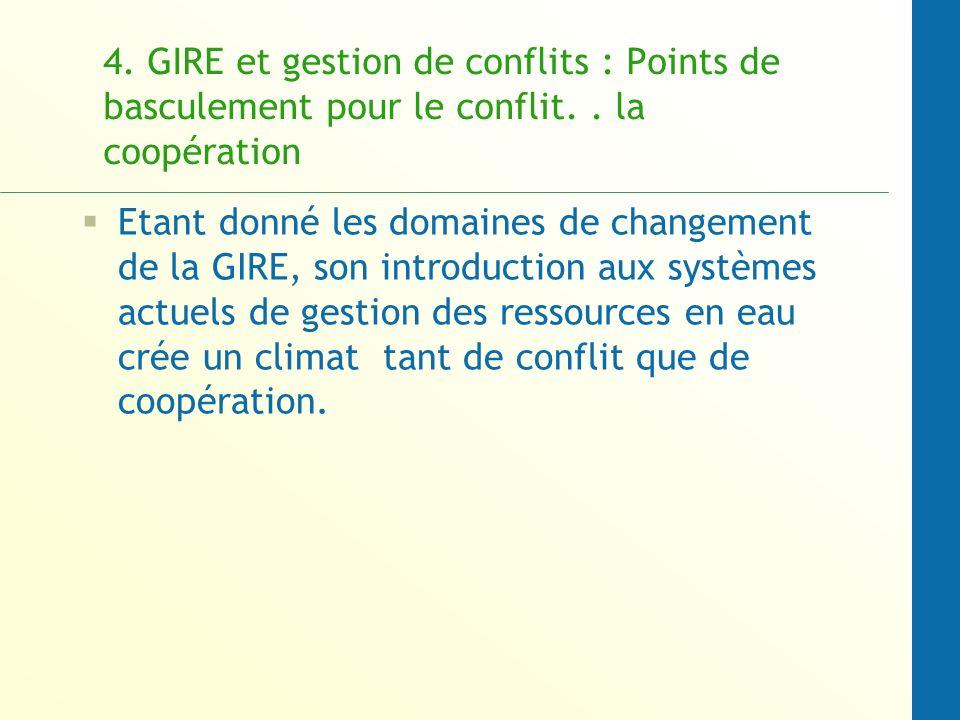 4. GIRE et gestion de conflits : Points de basculement pour le conflit