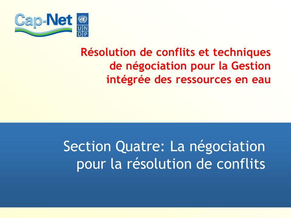 Section Quatre: La négociation pour la résolution de conflits