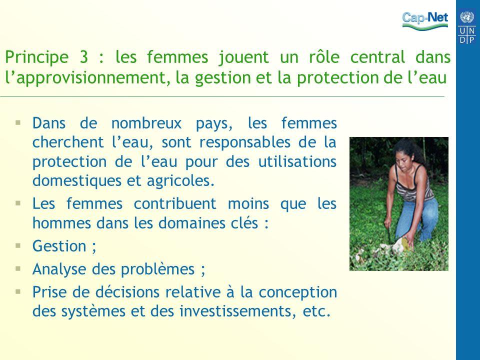 Principe 3 : les femmes jouent un rôle central dans l'approvisionnement, la gestion et la protection de l'eau