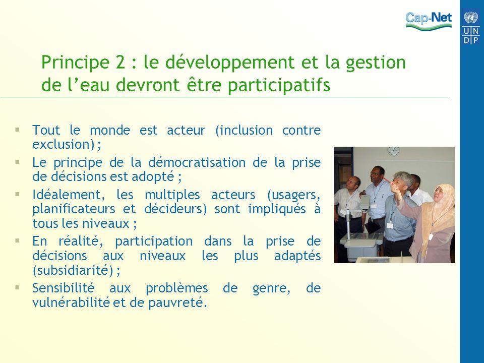 Principe 2 : le développement et la gestion de l'eau devront être participatifs