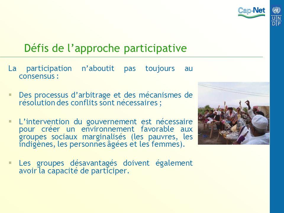 Défis de l'approche participative
