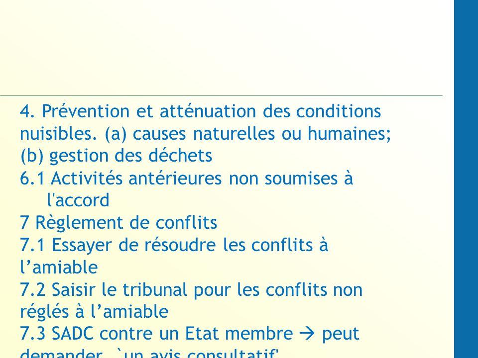 4. Prévention et atténuation des conditions nuisibles