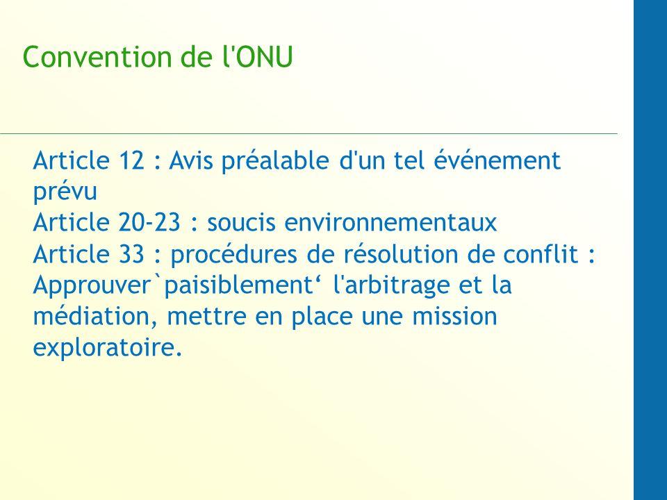 Convention de l ONU Article 12 : Avis préalable d un tel événement prévu. Article 20-23 : soucis environnementaux.