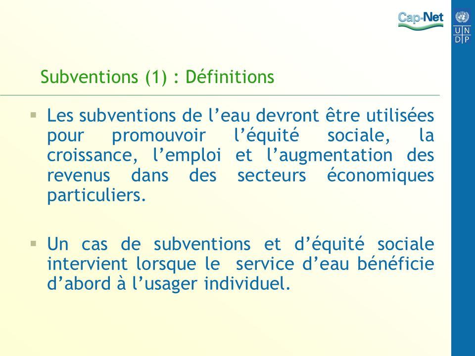 Subventions (1) : Définitions