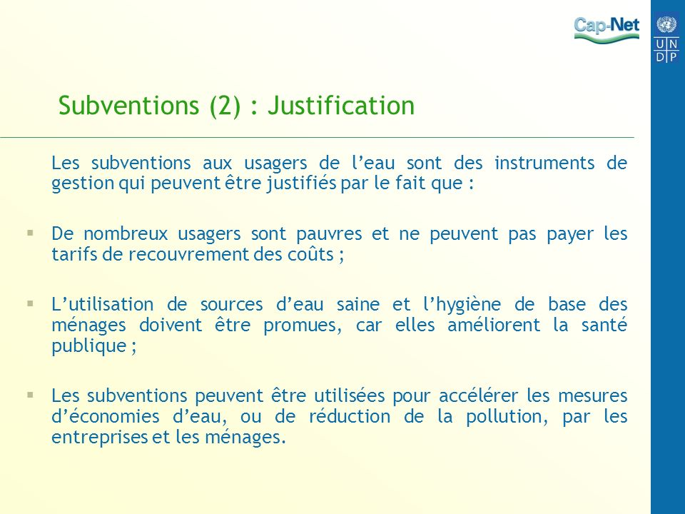 Subventions (2) : Justification