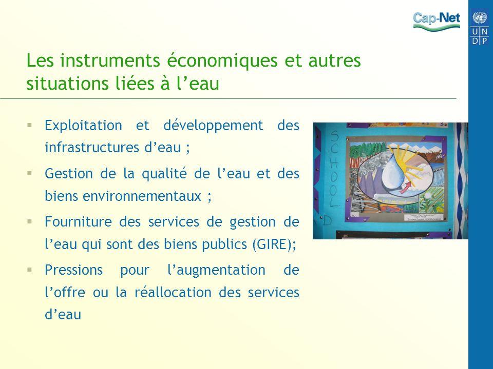 Les instruments économiques et autres situations liées à l'eau
