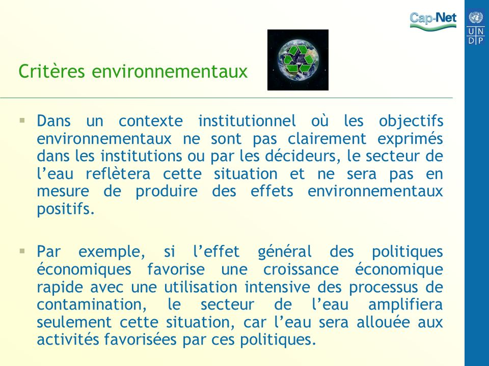 Critères environnementaux