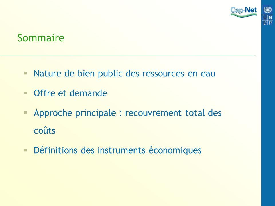 Sommaire Nature de bien public des ressources en eau Offre et demande