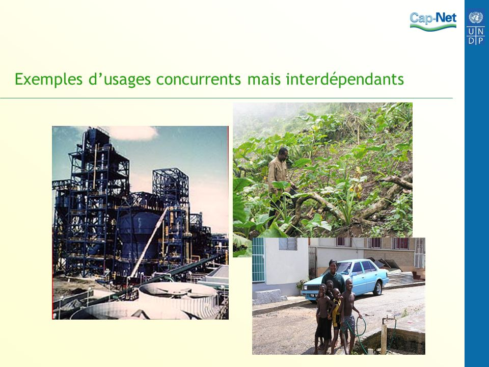 Exemples d'usages concurrents mais interdépendants