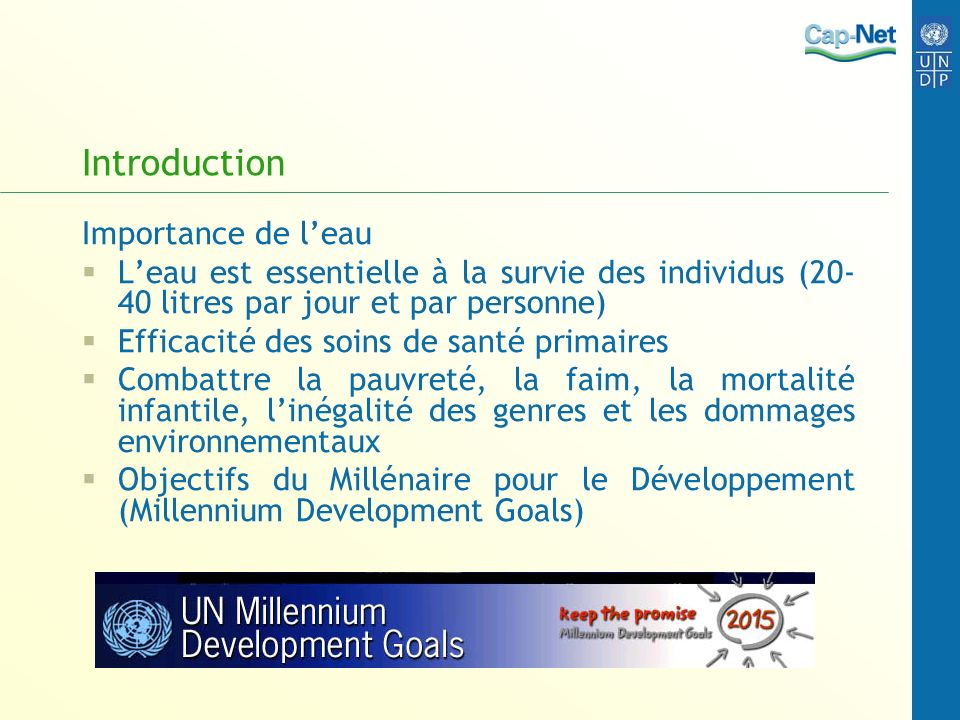 Introduction Importance de l'eau