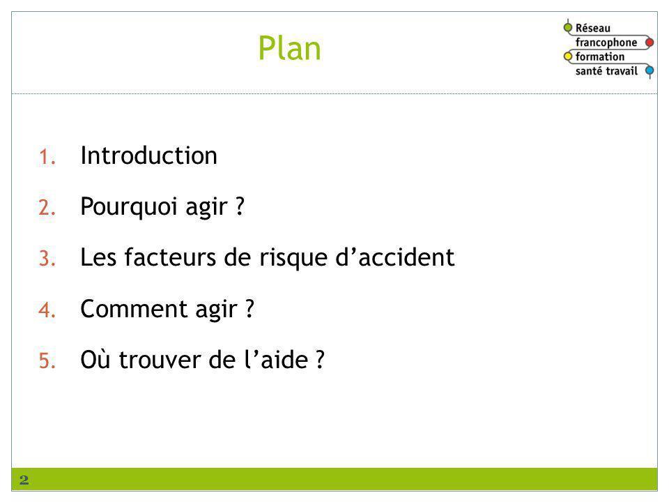 Plan Introduction Pourquoi agir Les facteurs de risque d'accident