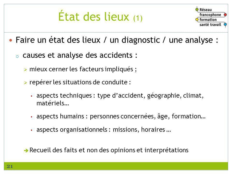 État des lieux (1) Faire un état des lieux / un diagnostic / une analyse : causes et analyse des accidents :