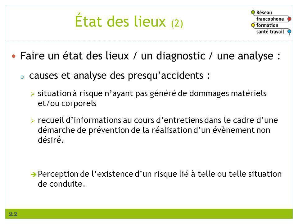État des lieux (2) Faire un état des lieux / un diagnostic / une analyse : causes et analyse des presqu'accidents :