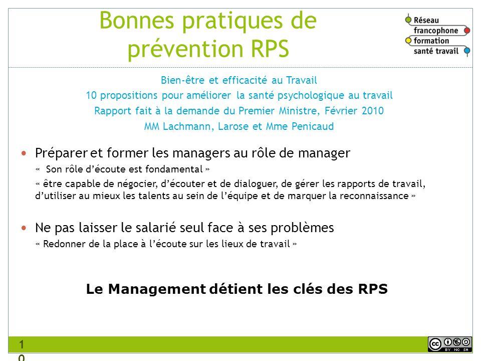 Bonnes pratiques de prévention RPS