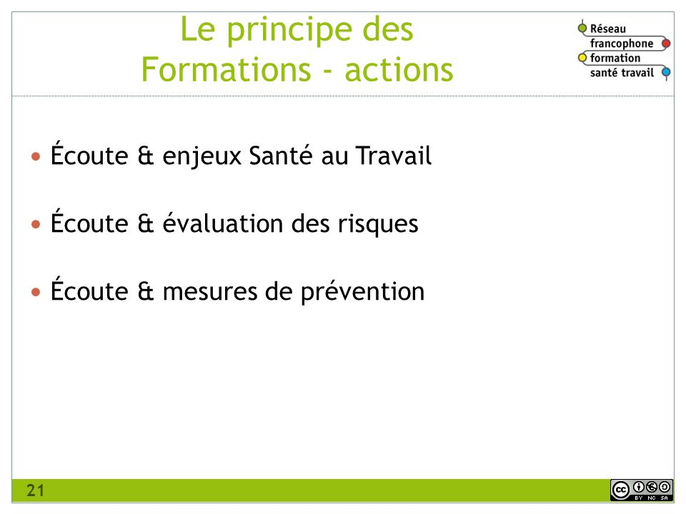 Le principe des Formations - actions