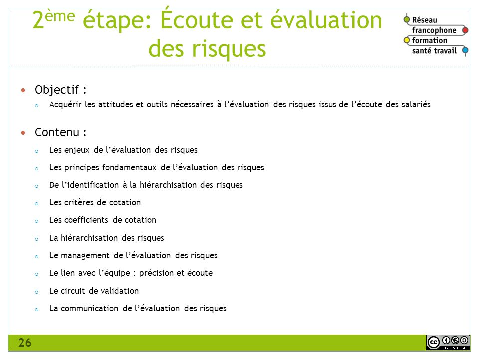 2ème étape: Écoute et évaluation des risques