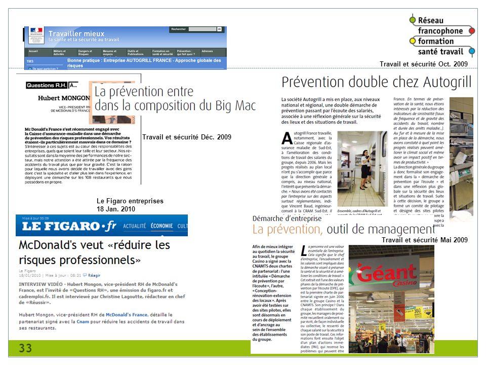 Revue de presse 33 Travail et sécurité Oct. 2009