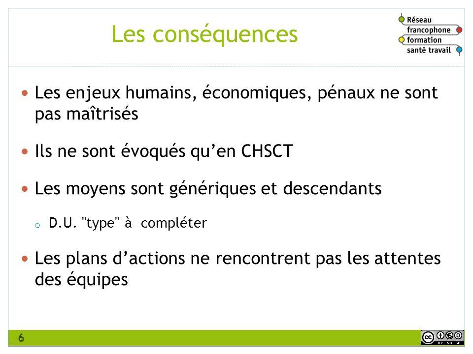 Les conséquences Les enjeux humains, économiques, pénaux ne sont pas maîtrisés. Ils ne sont évoqués qu'en CHSCT.