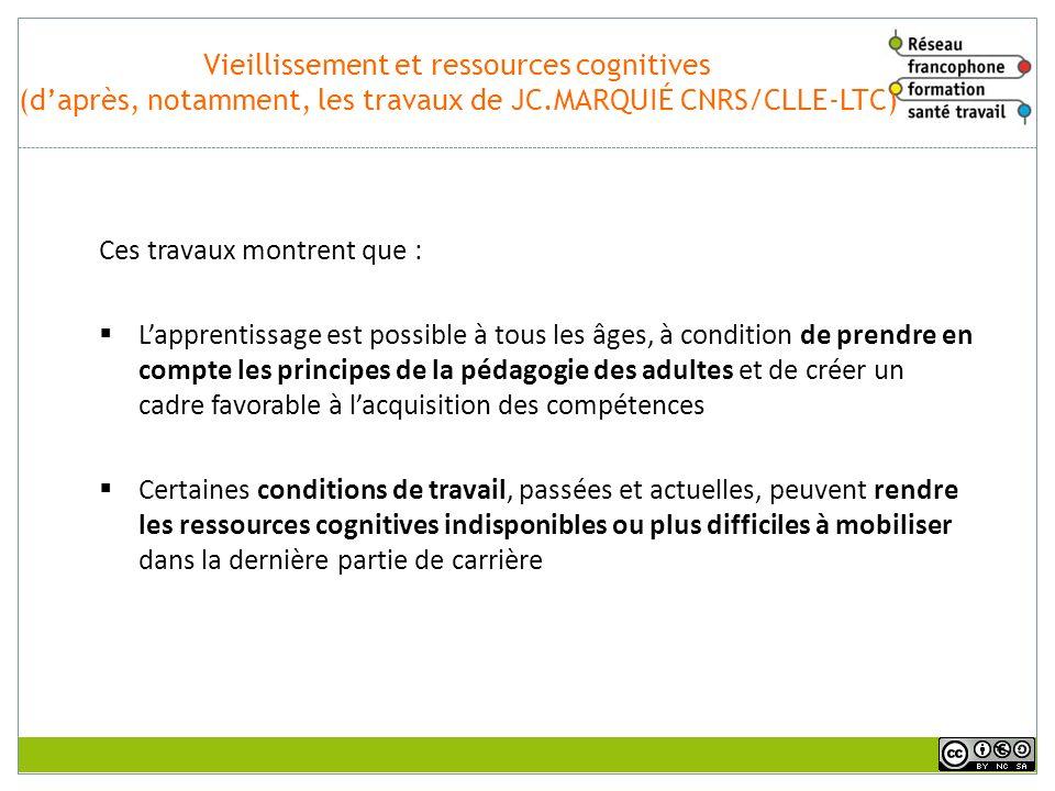 Vieillissement et ressources cognitives (d'après, notamment, les travaux de JC.MARQUIÉ CNRS/CLLE-LTC)