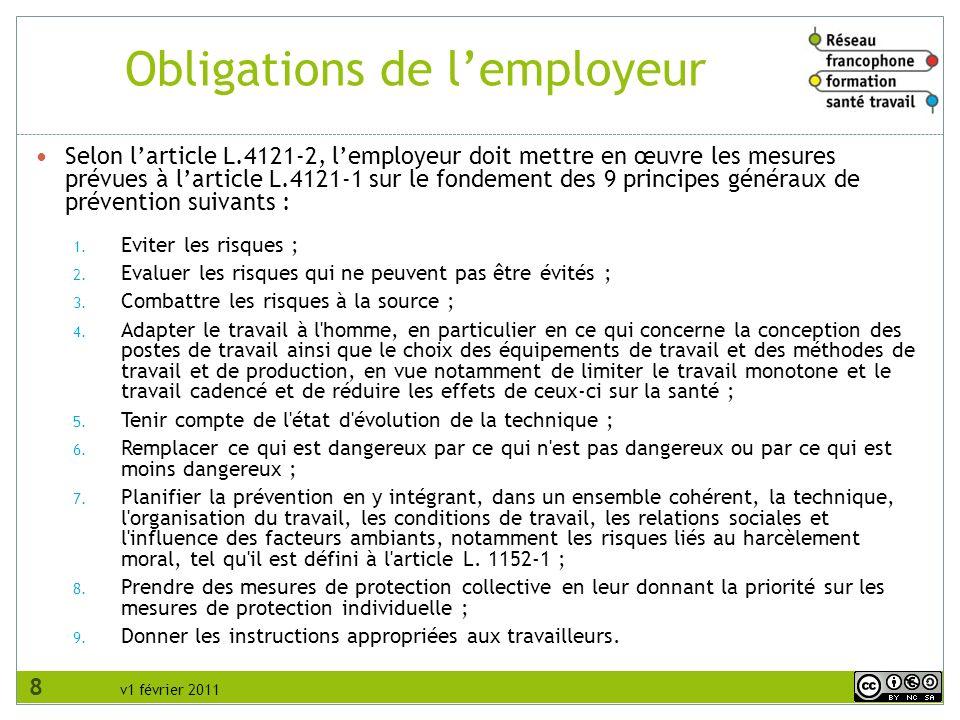 Obligations de l'employeur
