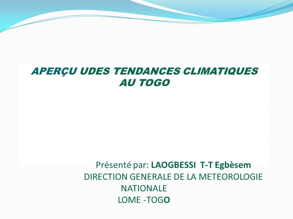 APERÇU UDES TENDANCES CLIMATIQUES