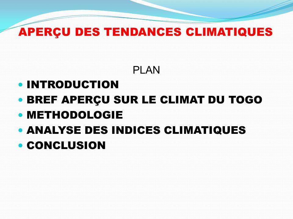 APERÇU DES TENDANCES CLIMATIQUES