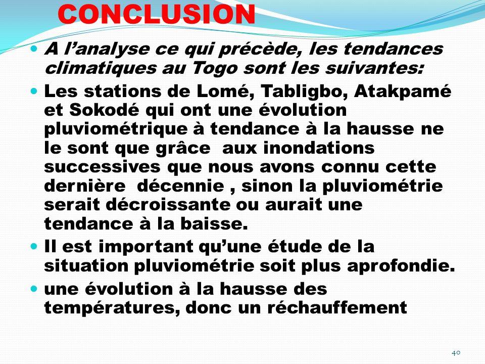 CONCLUSION A l'analyse ce qui précède, les tendances climatiques au Togo sont les suivantes: