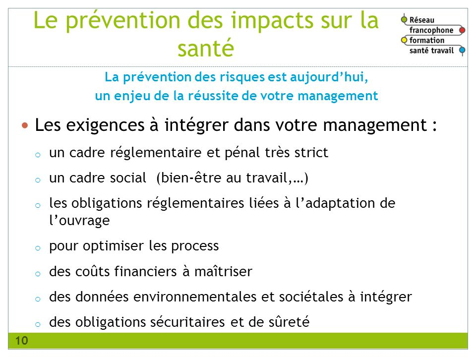 Le prévention des impacts sur la santé