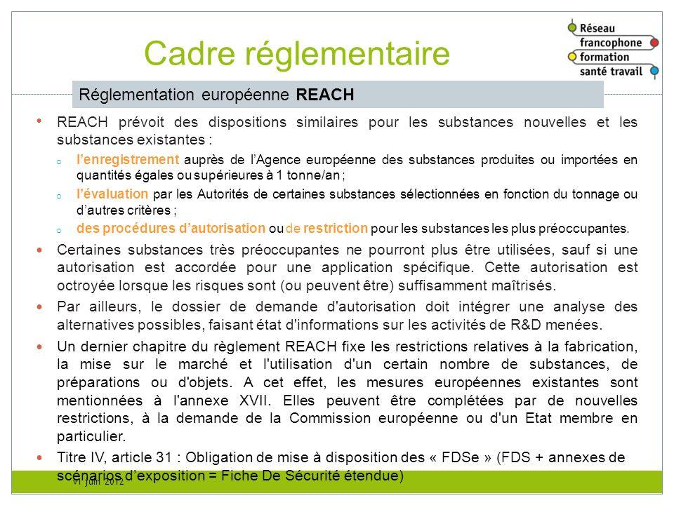 Cadre réglementaire Réglementation européenne REACH