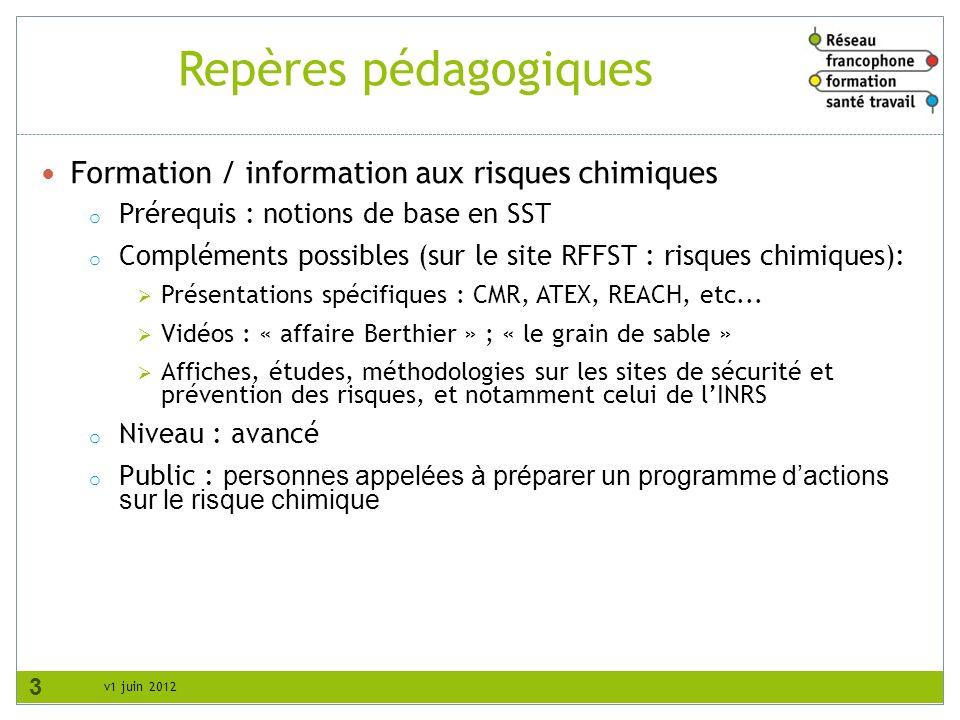 Repères pédagogiques Formation / information aux risques chimiques