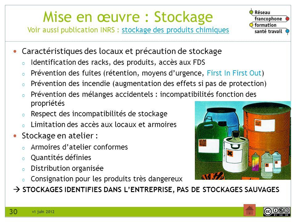 Mise en œuvre : Stockage Voir aussi publication INRS : stockage des produits chimiques