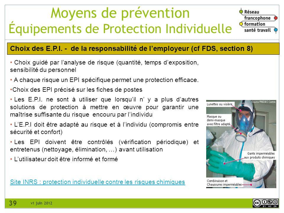 Moyens de prévention Équipements de Protection Individuelle