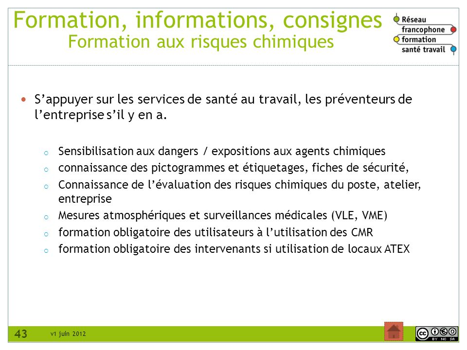 Formation, informations, consignes Formation aux risques chimiques