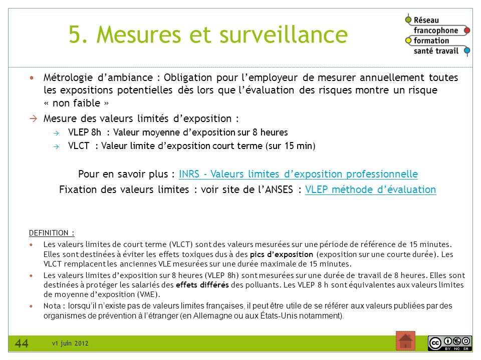 5. Mesures et surveillance