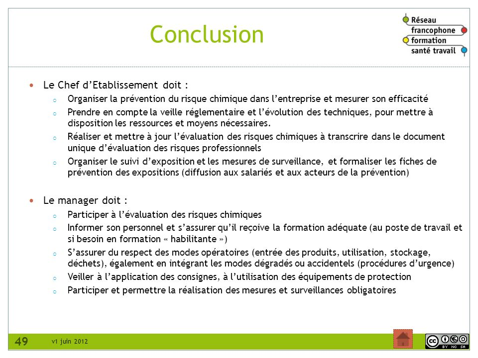 Conclusion 49 Le Chef d'Etablissement doit : Le manager doit :