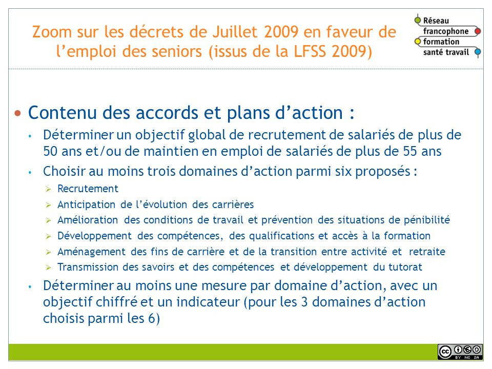 Contenu des accords et plans d'action :