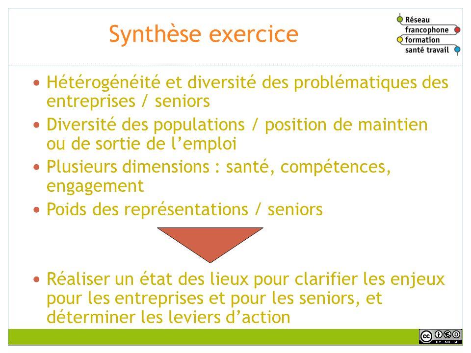 Synthèse exercice Hétérogénéité et diversité des problématiques des entreprises / seniors.