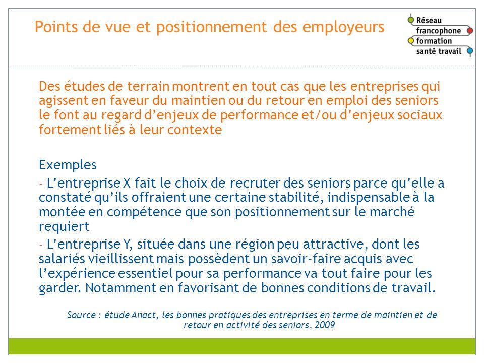 Points de vue et positionnement des employeurs