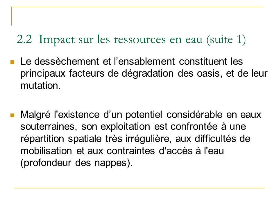 2.2 Impact sur les ressources en eau (suite 1)