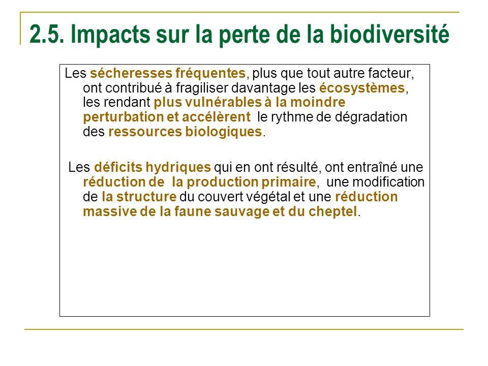 2.5. Impacts sur la perte de la biodiversité