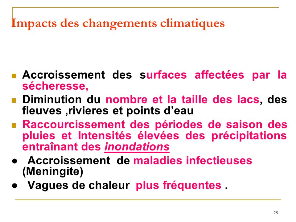 Impacts des changements climatiques