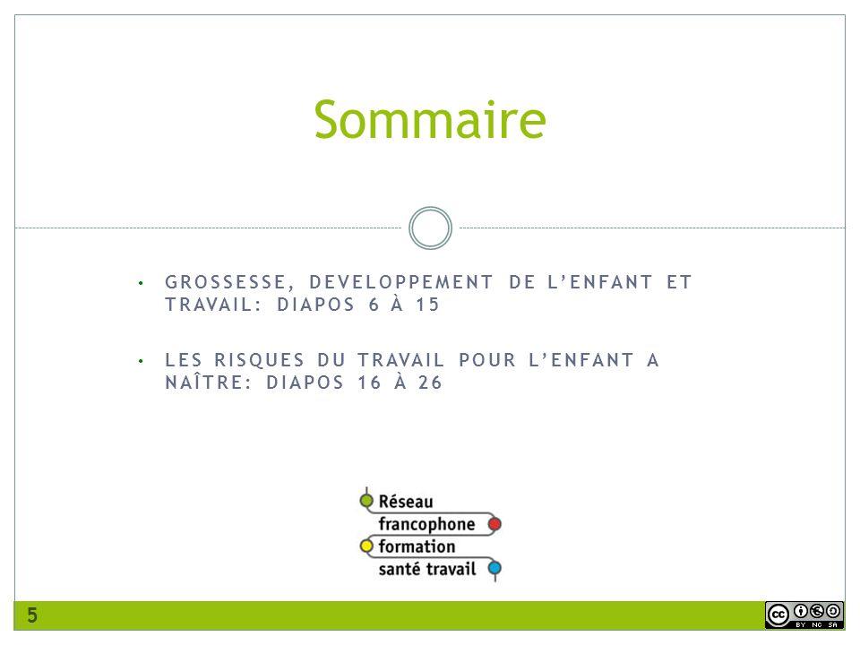 Sommaire GROSSESSE, DEVELOPPEMENT DE L'ENFANT ET TRAVAIL: DIAPOS 6 À 15.