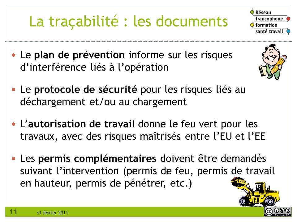 La traçabilité : les documents